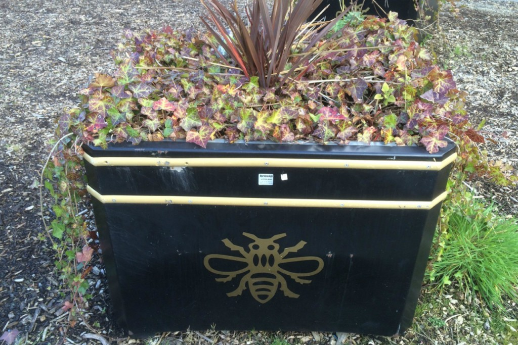Manchester's symbol, a bee, on a city planter. Credit: Copyright 2015 Clarissa Hyman