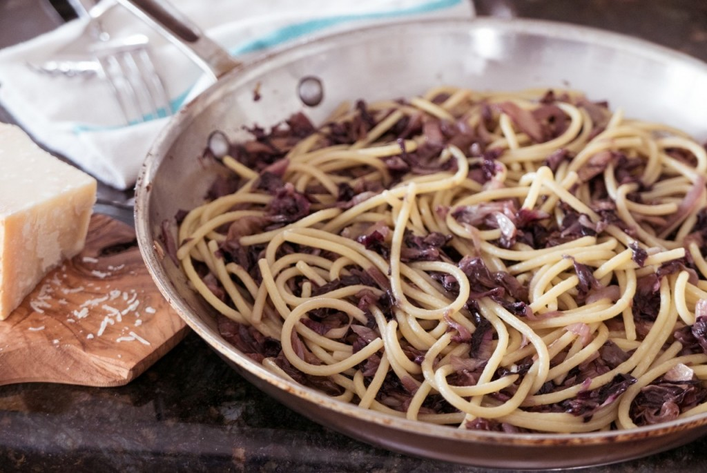 Spaghetti with braised radicchio. Credit: Copyright 2016 Nathan Hoyt/Forktales