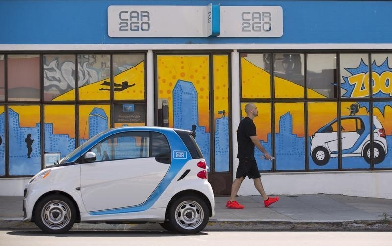 A man walks past an electric car from the car sharing company Car2Go, shown parked in front of their offices in San Diego, California September 1, 2015. REUTERS/Mike Blake