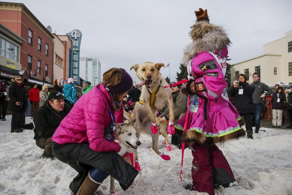 Alaskan musher DeeDee Jonrowe and Senator Lisa Murkowski get ready to head to the ceremonial start of the Iditarod Trail Sled Dog Race in downtown Anchorage, Alaska March 5, 2016. REUTERS/Nathaniel Wilder