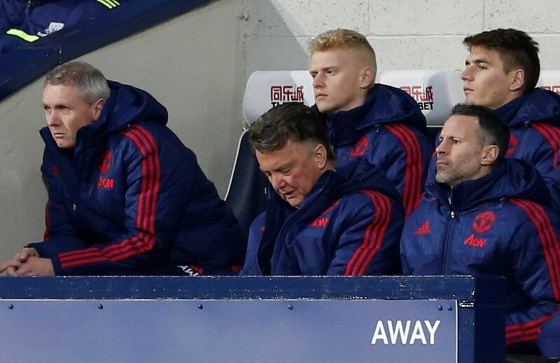 Football Soccer - West Bromwich Albion v Manchester United - Barclays Premier League - The Hawthorns - 6/3/16 Manchester United manager Louis Van Gaal and assistant manager Ryan Giggs  Action Images via Reuters / Carl Recine Livepic