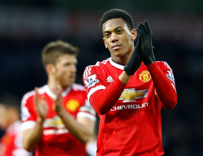 Football Soccer - West Bromwich Albion v Manchester United - Barclays Premier League - The Hawthorns - 6/3/16 Manchester United's Anthony Martial applauds the fans at the end of the match Reuters / Darren Staples Livepic