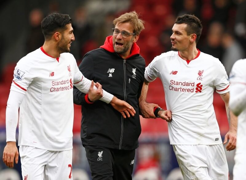 Football Soccer - Crystal Palace v Liverpool - Barclays Premier League - Selhurst Park - 6/3/16 Liverpool manager Juergen Klopp celebrates with Dejan Lovren and Emre Can at the end of the match Reuters / Eddie Keogh