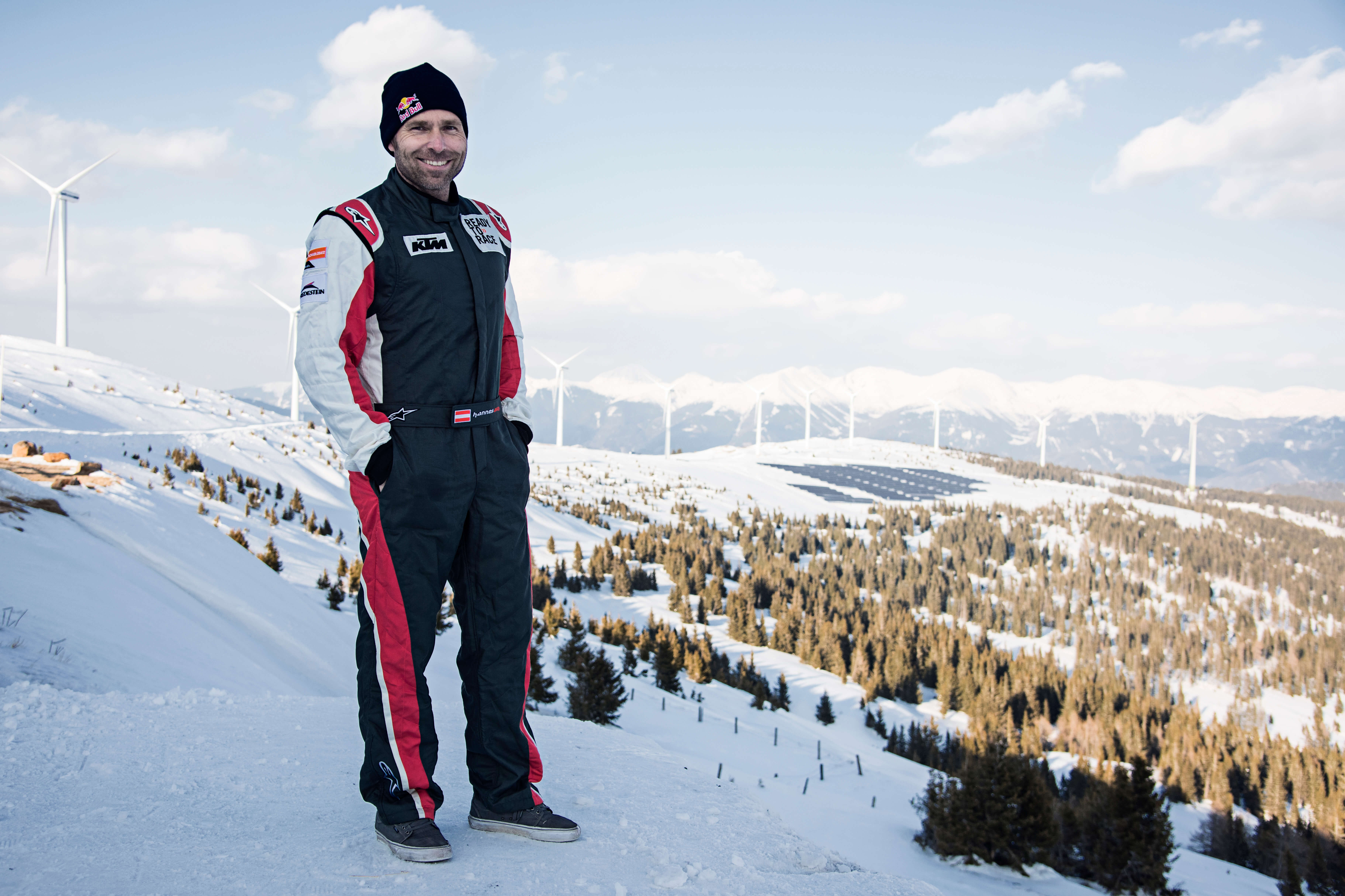 Hannes Arch poses for a portrait during the Windpark Rallye at the Windpark Hohe Tauern, Austria on March 20, 2016. // Markus Berger / Red Bull Content Pool // For more content, pictures and videos like this please go to www.redbullcontentpool.com