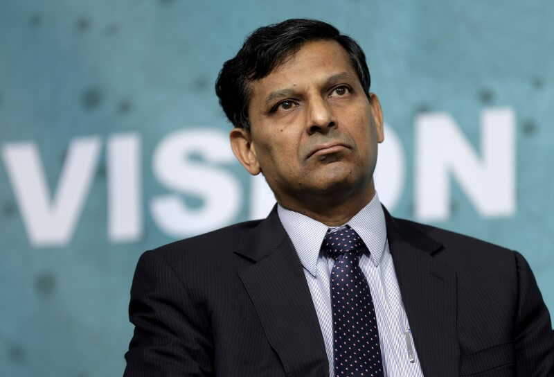 Governor of the Reserve Bank of India Raghuram Rajan speaks at a forum on financial development at the 2016 IMF World Bank Spring Meeting in Washington April 17, 2016. REUTERS/Joshua Roberts/File Photo